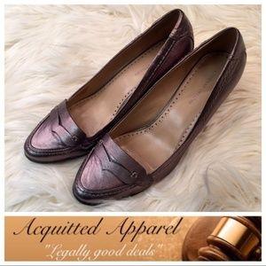 Adrienne Vittadini Metallic Gunmetal Wedge Loafer